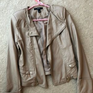 Forever21 Tan Faux Leather Moto Jacket Small